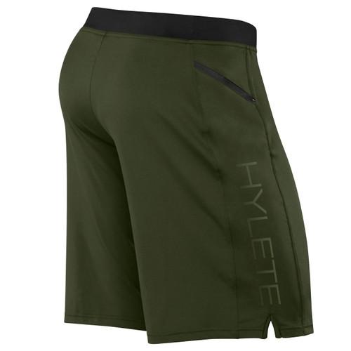 Hylete Vertex II Flex-Knit Zip Pocket Short Olive