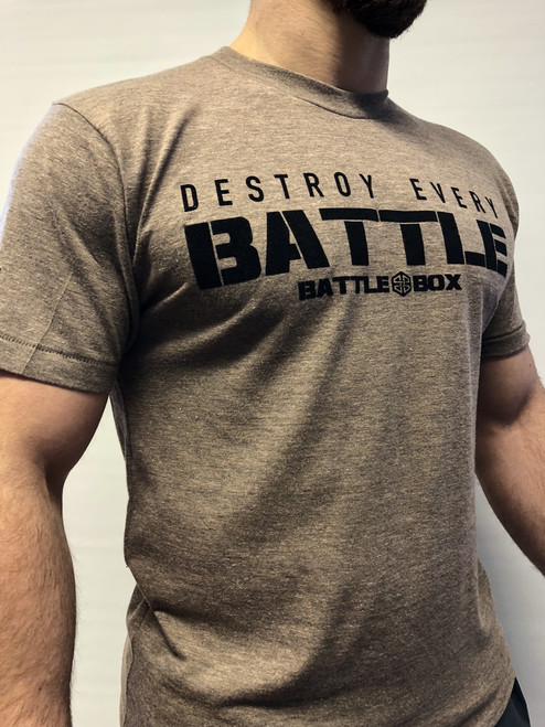 "BattleBox UK™ ""DESTROY EVERY BATTLE"" BROWN T-SHIRT"