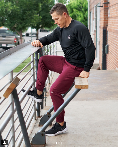 VIRUS MEN'S ST7 | TRIWIRE FITTED PANT | MAROON  WWW.BATTLEBOXUK.COM