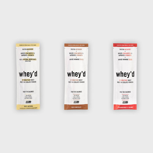 WHEY'D PROTEIN | SACHETS | INFORMED SPORT APPROVED | strawberries & cream