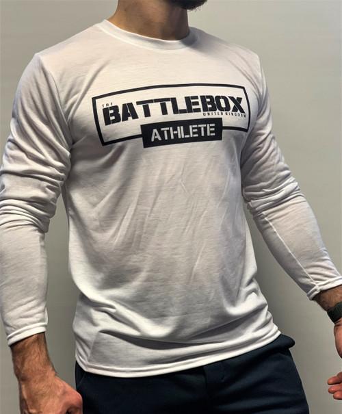 BattleBox UK™   ATHLETE   Long Sleeve T-shirt White Edition   Black & White  - www.BattleBoxUk.com