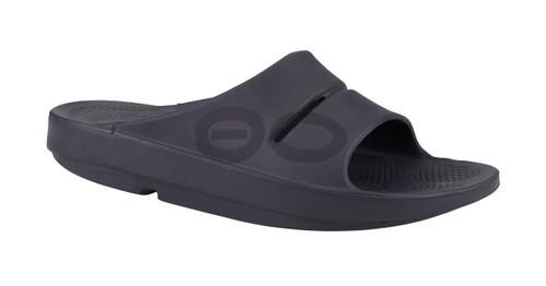 OOFOS MEN'S OOAHH SPORT Black Matte Recovery Footwear Slide In Flip Flop Sandal  - www.BattleBoxUk.com