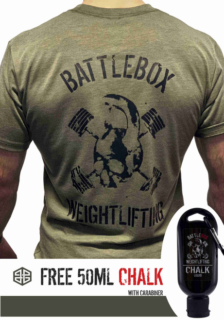 BattleBox UK™ | WEIGHTLIFTING| T-shirt | SKULL Military Green & Black  - www.BattleBoxUk.com
