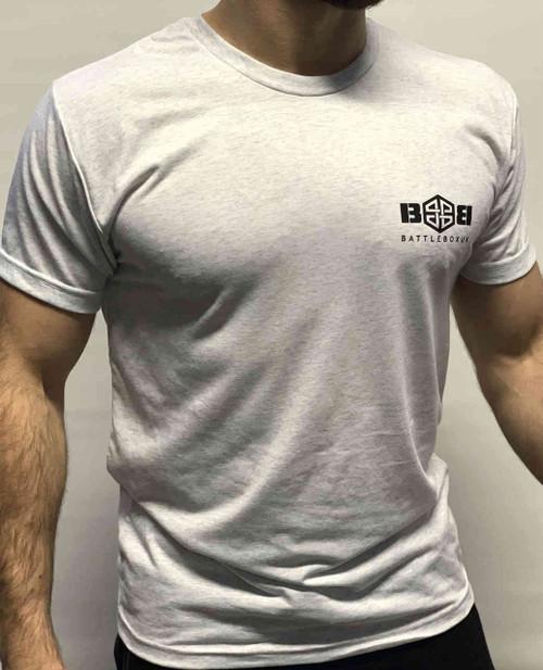 BattleBox UK™  T-shirt   WORKOUT Heather White & Black Training Top - www.BattleBoxUk.com