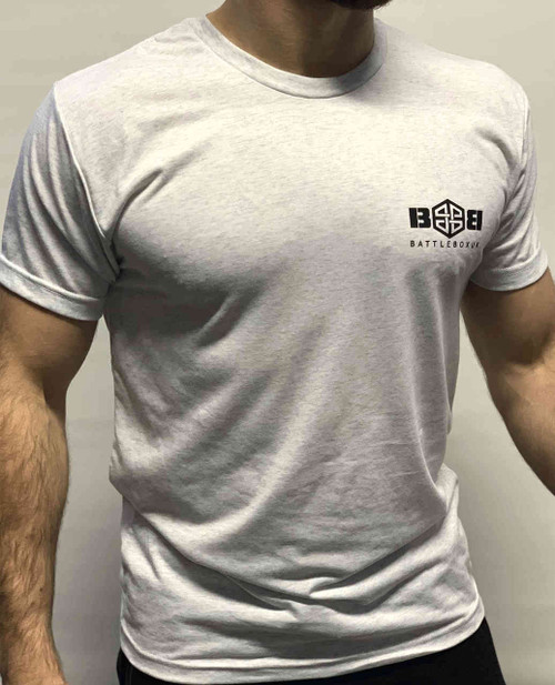 BattleBox UK™| T-shirt | WORKOUT Heather White & Black Training Top - www.BattleBoxUk.com