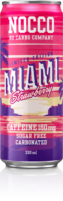 NOCCO Miami Strawberry New Limited Edition BCAA Drink with Caffeine (Pack of 6,12 or 24 cans)  - www.BattleBoxUk.com