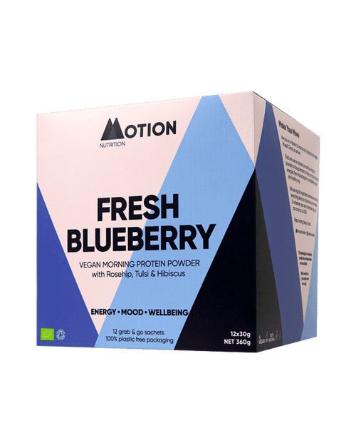 MOTION NUTRITION | ORGANIC VEGAN PROTEIN | Fresh Blueberry | Morning Shake www.battleboxuk.com