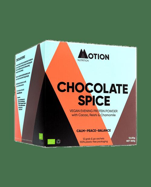 MOTION NUTRITION | ORGANIC VEGAN PROTEIN | Chocolate Spice | Evening Shake www.battleboxuk.com