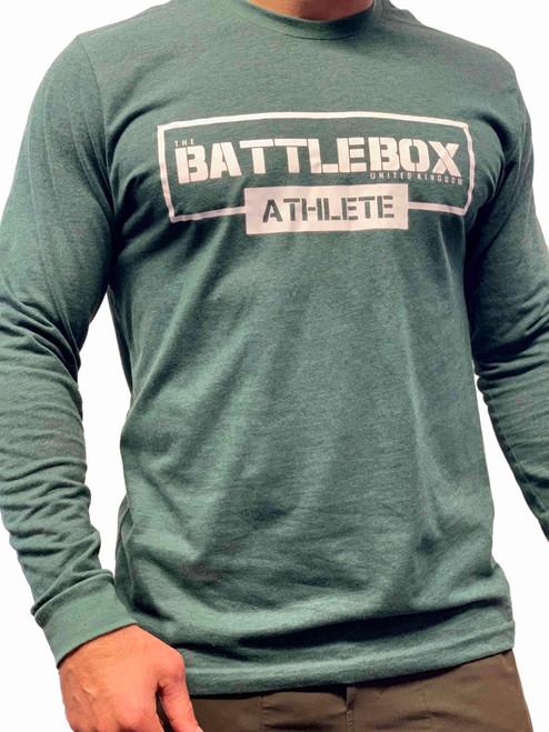 BattleBox UK™ | ATHLETE | Long Sleeve Sueded T-shirt| Heather Green & White  - www.BattleBoxUk.com