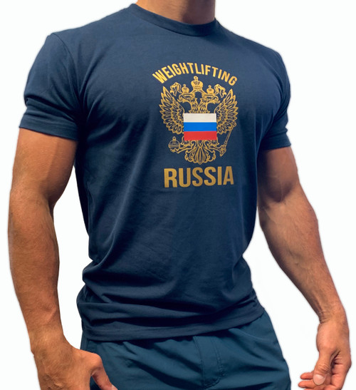 BattleBox UK™ | WEIGHTLIFTING RUSSIA | Short Sleeve Sueded T-shirt | Navy & Gold - www.BattleBoxUk.com