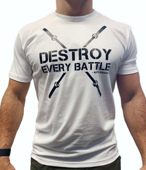 BattleBox UK™ | Destroy Every Battle 2.0 | Short Sleeve Sueded T-shirt | White & Black - www.BattleBoxUk.com