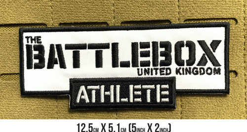 BattleBox UK™ | ATHLETE | 12 cm x 5cm Embroidered Patch VELCRO® Brand Backing  - www.BattleBoxUk.com