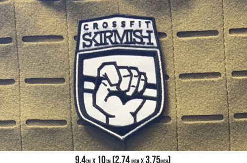 CrossFit Skirmish | 9.4cm x 10cm Embroidered Patch VELCRO® Brand Backing  - www.BattleBoxUk.com