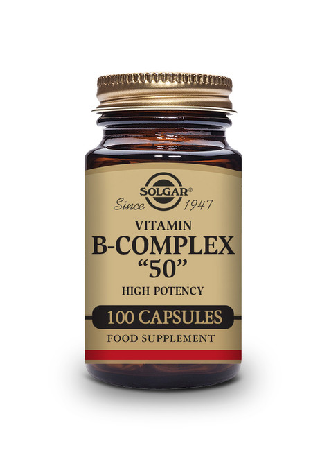 Solgar | Vitamin B-Complex 50 High Potency Vegetable Capsules| Pack of 100 (E1121E) www.battleboxuk.com