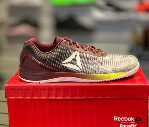Reebok CrossFit Nano 7.0 Men Size UK 13 US 14 White Black Yellow Maroon CM9519 - www.BattleBoxUk.com