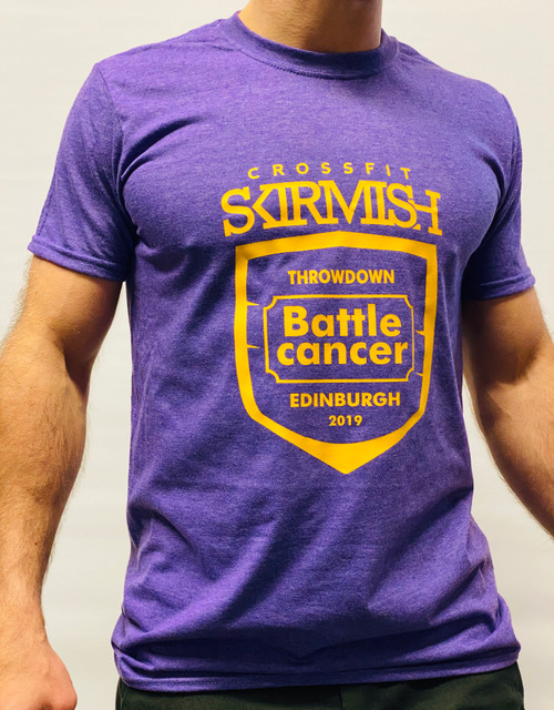 Help for Battle Cancer & Macmillan Charity | Crossfit Skirmish Throwdown 2019 Tee | Heather Purple  www.battleboxuk.com