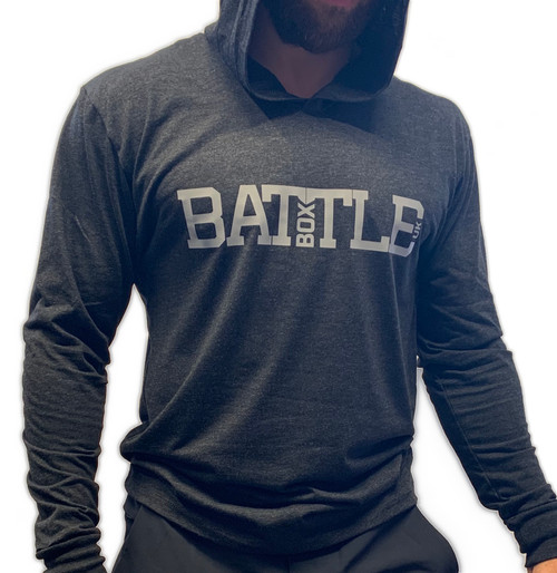 BattleBox UK™ | WOD 2.0 | Long Sleeve Unisex T-shirt Hoodie Tri-Blend | Vintage Black  - www.BattleBoxUk.com