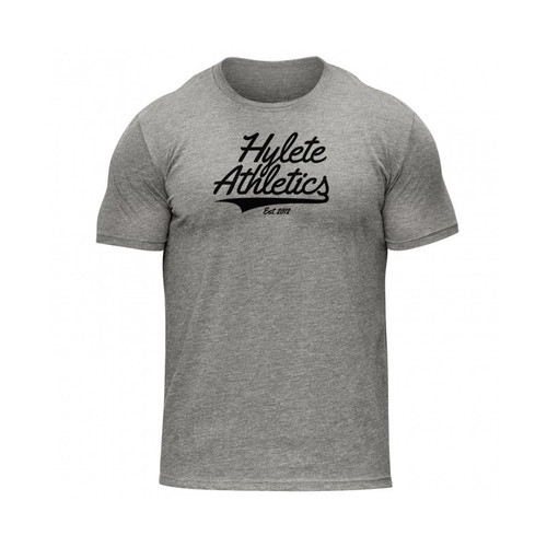 HYLETE ITALIC Tri-Blend Crew Neck T-shirt Heather Grey Black - www.BattleBoxUk.com