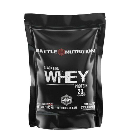 Battle Nutrition | Black Line WHEY Protein Powder | 23g Protein | Strawberry 1000g  - www.BattleBoxUK.com