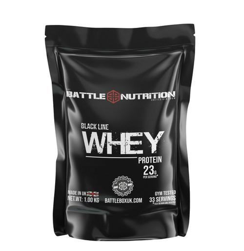 Battle Nutrition | Black Line WHEY Protein Powder | 23g Protein | Strawberry 1000g  - www.BattleBoxUK.com