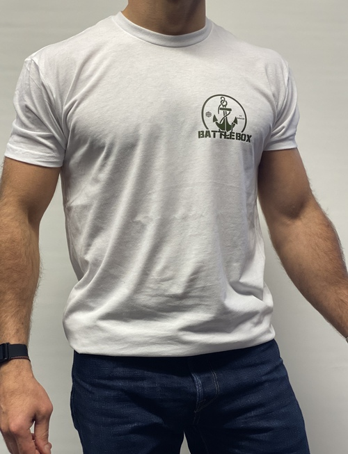 BattleBox UK™| T-shirt | ANCHOR Tri-Blend Cotton Heather White & Khaki Green Training Top
