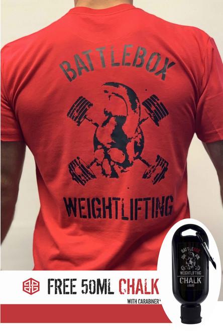 BattleBox UK™ | WEIGHTLIFTING | T-shirt | SKULL Red & Black plus Free 50ml Chalk - www.BattleBoxUK.com