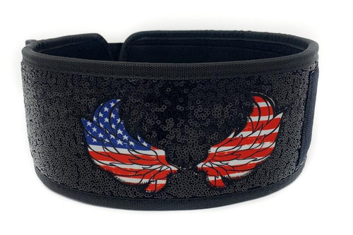 "22POOD | ""AMERICAN ANGEL"" BY MATTIE ROGERS STRAIGHT WEIGHTLIFTING BELT (w/ WODclamp®) - www.BattleBoxUk.com"