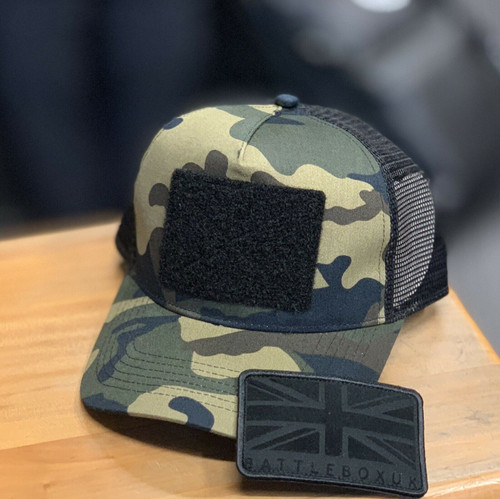 BattleBox UK™ | Union Jack Detached Patch | Green Camo Snapback Trucker Cap - www.BattleBoxUk.com