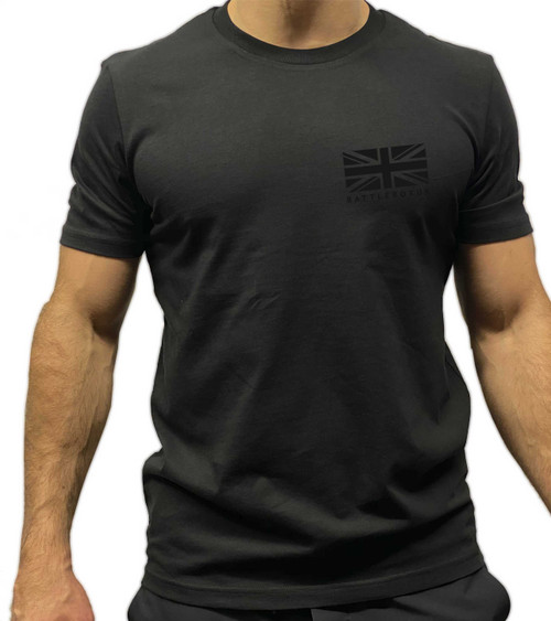 BattleBox UK™ | T-shirt | WORKOUT Union Jack Training Top Black Logo - www.BattleBoxUk.com