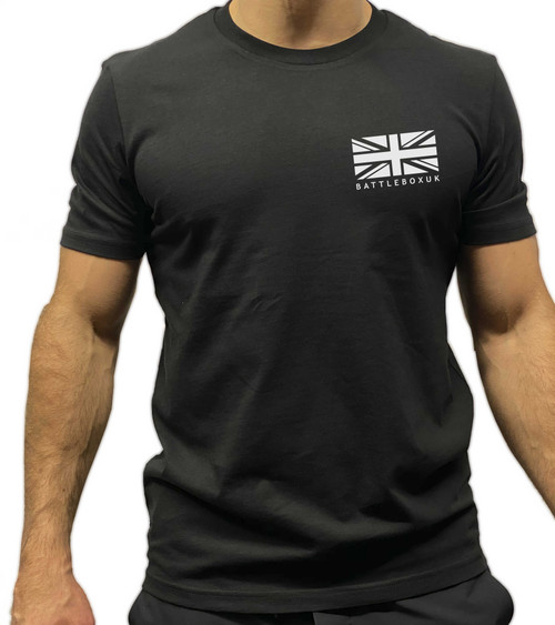 BattleBox UK™ | T-shirt | WORKOUT Union Jack Training Top Black White Logo - www.BattleBoxUk.com