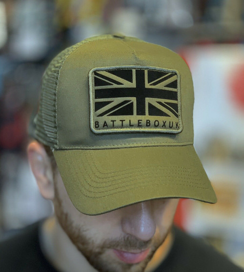 BattleBox UK™ | Union Jack Detached Patch | Military Green Snapback Trucker Cap  - www.BattleBoxUk.com