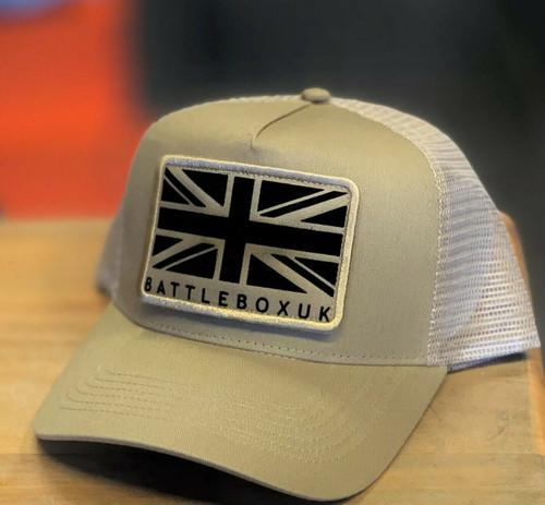 BattleBox UK™ | Union Jack Detached Patch | Desert Sand Snapback Trucker Cap - www.BattleBoxUk.com