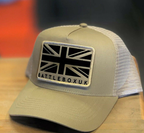 BattleBox UK™ | Union Jack Detached Patch | Desert Sand Snapback Trucker Cap - www.BattleBoxUk.com