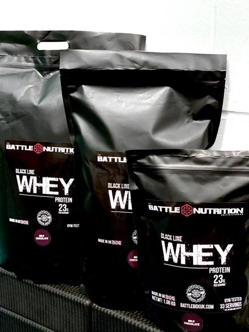 Battle Nutrition | 5000kg Black Line WHEY Protein Powder | 23g Protein | Milk Chocolate www.BattleBoxUK.com