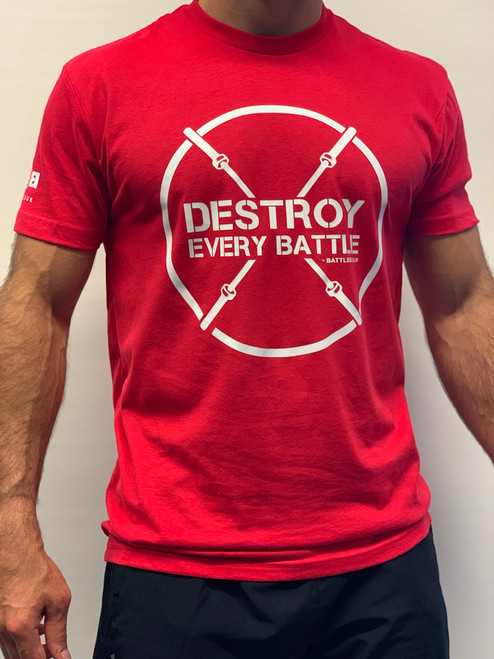 BattleBox UK™ | Destroy Every Battle 2.0 | Short Sleeve Sueded T-shirt | Red & White - www.BattleBoxUk.com