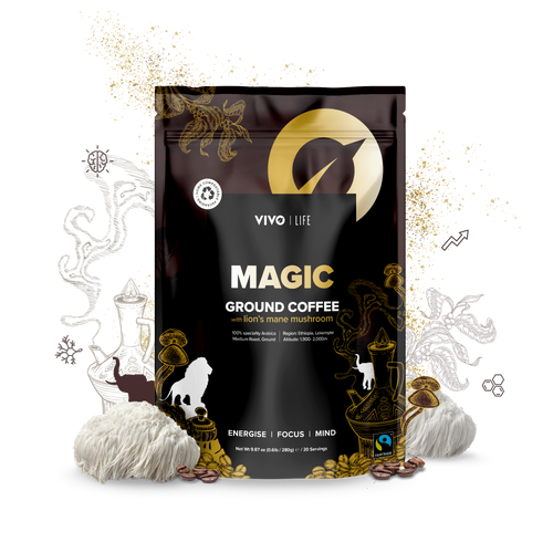 VIVO MAGIC ORGANIC FAIR TRADE GROUND COFFEE & LION'S MANE MUSHROOMS 280G / 20 SERVINGS WWW.BATTLEBOXUK.COM