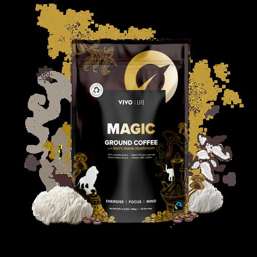 Vivo Life | MAGIC: Organic Ground coffee & lion's mane mushroom 280G / 20 Serv - www.BattleBoxUk.com