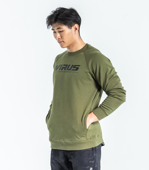 Virus | ST18 | Fleece VP Crew Neck Sweater | OD Green/Black (ST143403-ODBK) www.battleboxuk.com