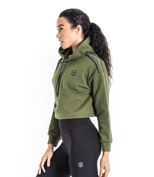 Virus | Women's Atlas Crop Hoodie | OD Green/Black (ST242907-ODB www.battleboxuk.com