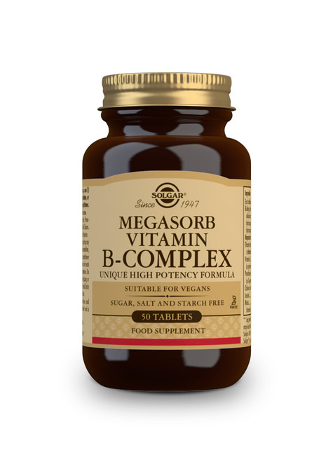 Solgar | Vitamin B-Complex Megasorb Extra High Potency | Pack of 50 or 100 Tablets  - www.BattleBoxUk.com