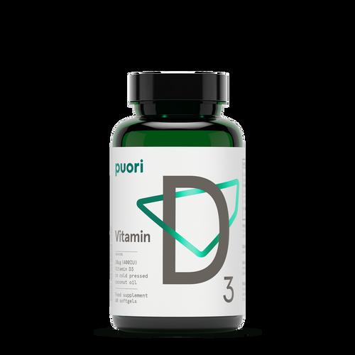 Puori | D3 - Naturally sourced Vitamin D 400IE - 60 capsules - www.BattleBoxUk.com