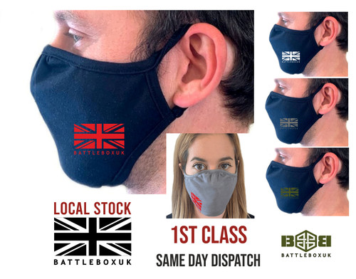 BattleBox UK™ 2-Ply Eco Face MaskFabric Cover Reusable Washable Cover - www.BattleBoxUk.com