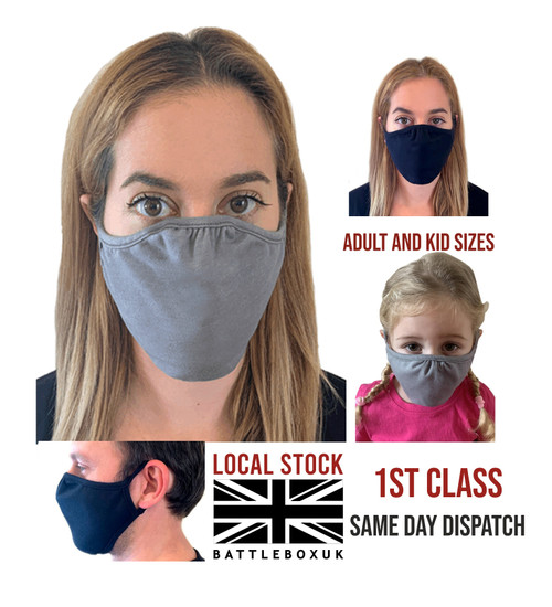 Face Mask Washable Cover Shield Breathable Reusable Double Layer Protection - www.BattleBoxUk.com