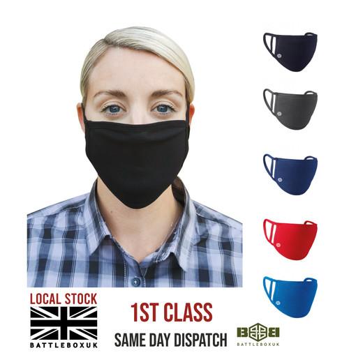 Premier Washable 2-Ply Face Cover Mask Silvadur™ 930 Anti-Microbial Finish - www.BattleBoxUk.com