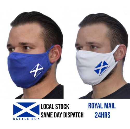 Eco Face Mask 2-Ply Washable Cover Shield Breathable Reusable Double Layer Scotland Flag  - www.BattleBoxUk.com