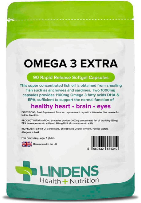 Lindens Health Nutrition | Omega 3 Fish Oil Extra | 90 Capsules  www.battleboxuk.com