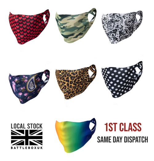 Face Mask Single-Ply Coloured Washable Cover Shield Breathable Reusable - www.BattleBoxUk.com