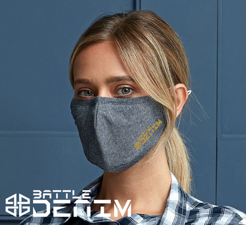 Battle Denim Face Mask Triple Layer Washable Cover Shield Breathable Reusable - www.BattleBoxUk.com