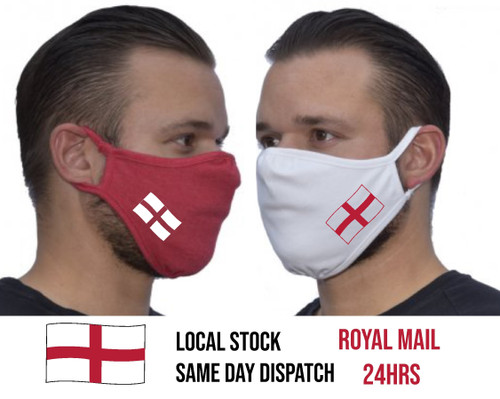 Eco Face Mask 2-Ply Washable Cover Shield Breathable Reusable Double Layer England St George Cross - www.BattleBoxUk.com
