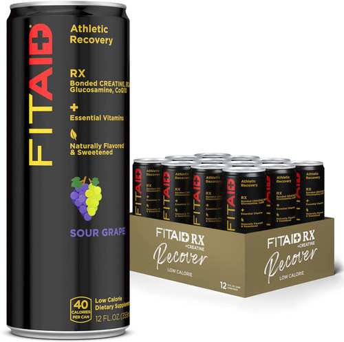FITAID ®Athletic Recovery BONDED CREATINE + BCAAS + GLUCOSAMINE + COQ10 SOUR GRAPE by LIFEAID ® www.BattleBoxUk.com